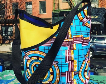 African Print Fabric and Canvas Pocket Market Bag, Wax Cloth Cross Body Messenger Bag, Lightweight Shoulder Tote