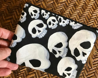 Black and White Skull 7 inch Cotton Zipper Pouch, Coin Bag, Cosmetic Case, Travel Case