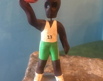 Mexican  Handmade Day of the Dead Basketball Player, Dia de los Muertos Sports Figurine