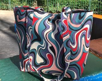 Grape Swirl Cotton Print and Canvas Tote Bag,  Market Bag, Book Bag
