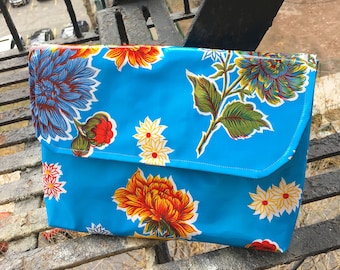 "14""  Oil Cloth Floral Portfolio, Envelope Clutch Bag, Oil Cloth Travel Case, Laptop Sleeve"