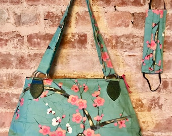 Japanese Plum Blossom Cotton Print Shoulder Bag, Handbag, Purse with Matching Face Mask