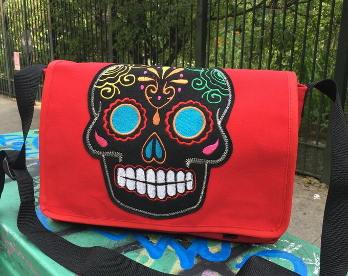 Featured listing image: Red Canvas Sugar Skull Messenger Bag, Canvas Courier Bag, Cross Body School Bag, Book Bag