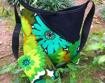 Vintage Floral Barkcloth and Canvas Market Bag with Pouch, Crossbody Messenger Bag, Satchel Tote