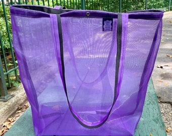 Love Shine Purple Mesh Market Tote bag
