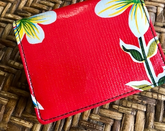 Red Floral Oil Cloth Trifold Wallet, Vinyl Credit Card Notecard Case