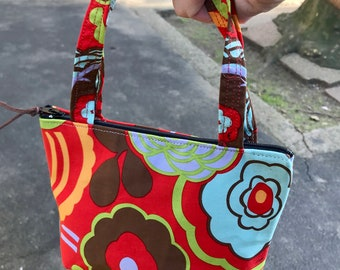 Orange Floral Cotton Mini Wrist Purse, Lipstick Tote Bag
