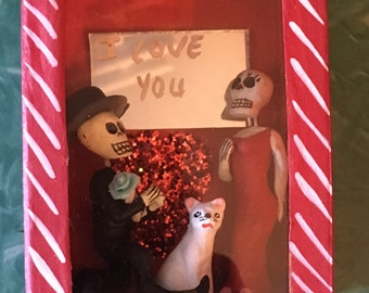"Mexican Day of the Dead "" I love you"" Proposal Nicho Box, Diorama, Folk Art"