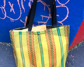 Yellow Stripe Mesh Tote Bag, Market Bag