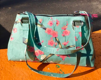 Cotton Plum Blossom Handbag Purse, Asian Print Shoulder Bag, Green Pink Floral Baguette Bag