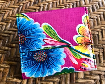 Purple Blue Floral Oil Cloth Trifold French Purse Wallet