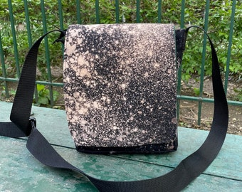 Hand Treated Reverse Dyed Black Canvas Day Bag, Bleach Dyed Messenger Bag, Travel Bag