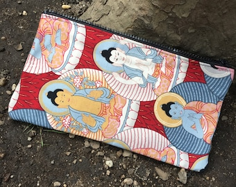 Buddha Print Cotton Pencil Case, Cosmetic Case, Cotton Pouch, Travel Case