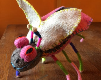 Natural Wool Handmade Mayan Stuffed Animal Bug, Mexican Art, Twoolie