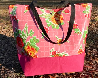 Pink Rose Floral Oil Cloth Beach Bag, Large Oil Cloth and Canvas Trimmed Tote Bag