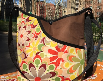 Pop Floral Print Canvas Market Bag, Cross Body Shoulder Bag, Hobo Bag, School Bag