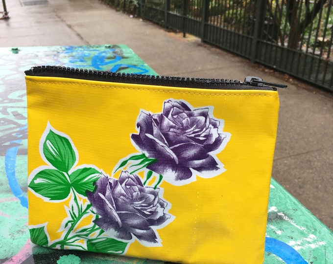 "Featured listing image: Yellow and Purple Rose Oil Cloth Cosmetic Pouch, 7"" Oil Cloth Case, Mexican floral Oil Cloth wallet"