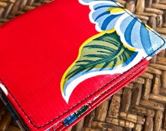 Red Floral Oil Cloth Trifold Wallet, Vinyl Women's Wallet, Credit Card Case