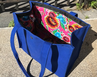 Large Canvas Topstitch Tote with Oil Cloth Lining, Shoulder Bag, Blue Canvas Shopper Tote