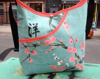 Cotton Asian Print Cherry Blossom Market Bag, Hobo Sling Crossbody Japanese Print Messenger Bag