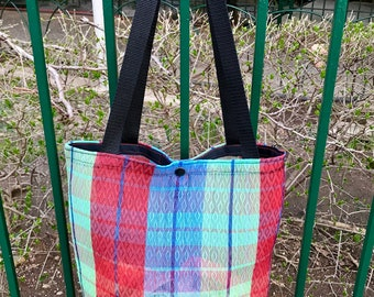 Love Shine Plaid Mexican Mesh Shopping Tote Bag