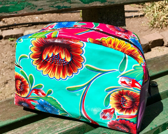 Featured listing image: Love Shine  Patchwork Oil Cloth Dopp Kit, Travel Case,  Make Up Bag
