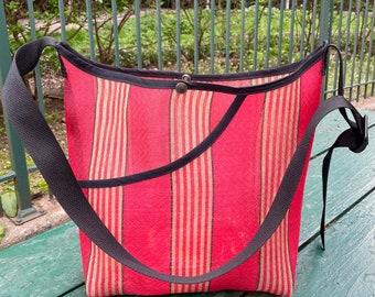 Love Shine Mexican Mesh Red Gold Stripe Market Bag, Mercado Bag, Woven Mesh Crossbody Shoulder Bag
