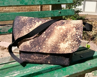 "Extra Large Hand Treated 20"" Black Canvas Messenger Bag, Black and White Canvas Courier Bag, Cross body Mail Bag"