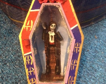 "James ""Bone"" Bond Mexican Folk Art Nicho, Day of the dead James Bond Wall Art Shrine, Diorama"