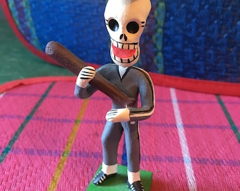 Baseball Player Mexican Day of the Dead Ceramic  Figurine, Dia De Los Muertos Skeleton Art