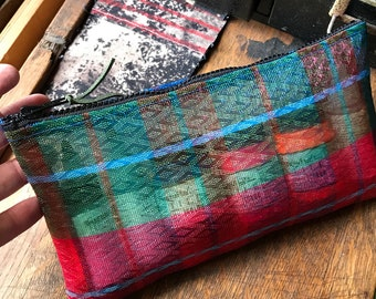 "Plaid Mexican Mesh 10"" Pencil Case, Travel Case, Zipper Pouch Bag"