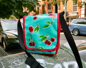 Turquoise Cherry Mexican Oil Cloth and Red Canvas Messenger Bag, Day Bag, Crossbody Courier