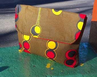 "Brown and Gold African Wax Cloth 14"" Envelope Clutch Purse, Travel Case, Cotton Portfolio Bag"