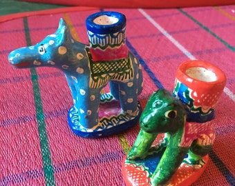Mexican Ceramic Miniature Dog and Frog Birthday Candle Holders, Table Top Decor, Mexican Folk Art