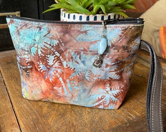 Love Shine Tie Dye Floral Cotton Print Wristlet, Swinger bag, Cosmetic bag, Wrist Clutch