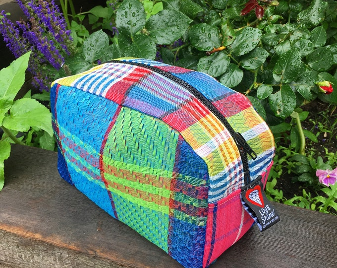 Featured listing image: Patchwork Plaid Mesh Dopp kit, Travel Case, Toiletry Cosmetic Bag