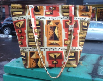 Retro Mid Century Modern Style Cotton Martini Print Classic Tote, Market bag