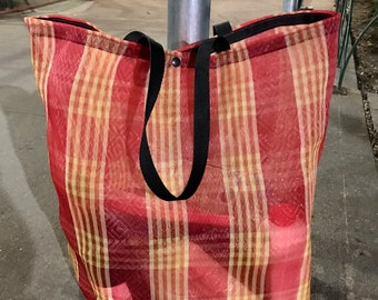 Love Shine Mexican Mesh Red Plaid Tote Bag, Market Bag, Large Reusable Tote