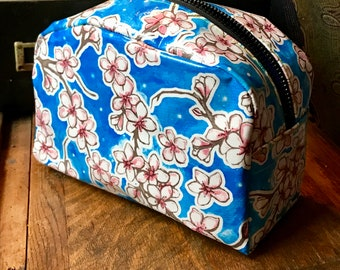 Love Shine Blue Cherry Blossom Oil Cloth Dopp kit, Travel Case, Cosmetic Bag, Toiletry Bag
