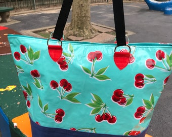 Large Turquoise Cherry Oil Cloth Zippered Beach Bag, Love Shine Zipper Tote, Picnic Bag