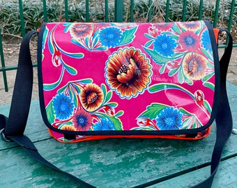 Love Shine Hot Pink Floral Oil Cloth and Canvas Courier Bag, Crossbody Messenger Bag,