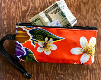 "Orange Floral Oil Cloth 7"" Zipper Pouch Wristlet, Cellphone case with detachable strap"