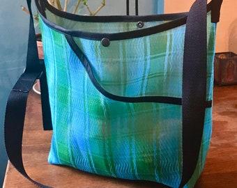 Love Shine Mexican Mesh Blue Green Plaid Market Bag, Woven Mesh Crossbody Shoulder Bag, Mercado Bag