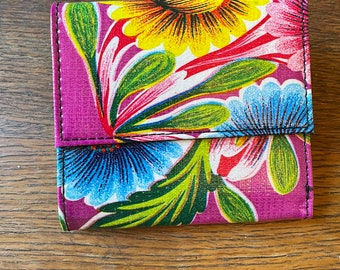 Purple Floral Love Shine Oil Cloth Trifold Wallet