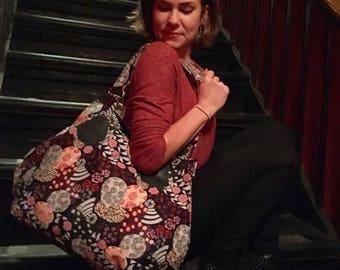 Large Black Paisley Print Zippered Tote, Cotton Shoulder Bag, Love Shine Hip Bag
