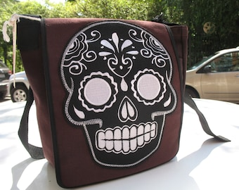 Sugar Skull Canvas Courier bag, Dia de los Muertos Canvas Messenger Daybag