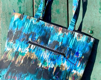 Love Shine Blue Abstract Printed Canvas Tote