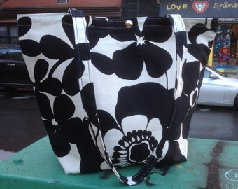 Black and White Floral Cotton Canvas Classic Tote Bag, Market Bag, Book Bag