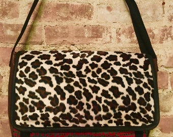 Fake Fur Leopard Patchwork Messenger Bag, Leopard Tweed Faux Leather Crossbody Courier Bag
