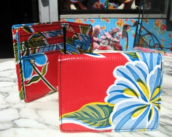 Oil Cloth Red Trifold Wallet, Women's Floral Vinyl Wallet, Credit Card Case